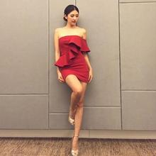 [NEW SALE] 2017 Spring Sexy Slit Neckline One Shoulder Ruffle Tube Top Dress Slim Hip Short Red Formal One-piece Dress