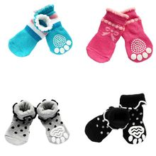 New Product For Small Dog Socks Cotton Pet shoes with Bottom Non-slippery Warm Sock 4 Pcs Dogs Skid Shoes Hot Sale