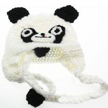 Fashion Baby Toddler Kids Panda Pattern Knitted Crochet Beanie Warming Earflap Hat For Photo Costume Bebes Hot D(China)
