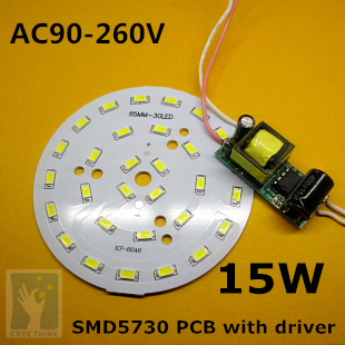 10sets/lot, 15W LED PCB with SMD 5630 5730 LEDs installed and driver set, Light Board Led Lamp Panel<br>