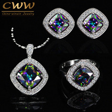 CWWZircons Elegant Square Mystical Colorful Crystal Jewelry Set For Women Cubic Zirconia Necklace Earring And Ring Sets T264(China)