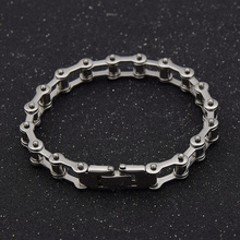 fashion lychee Biker Bicycle Motorcycle Chain Bracelet Bangle Punk Titanium Steel Bracelet Men Bangle Fashion Jewelry(China)