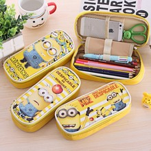 Minion Totoro Leather pencil bag Big capacity zipper cute school pencil case for girls kawaii Stationery office school supplies