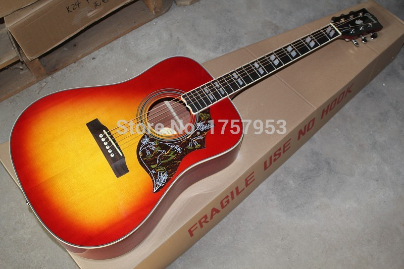 Free Shipping 2017 new Top Factory custom shop cherry sunburst hummingbird acoustic guitar 1 14(China)