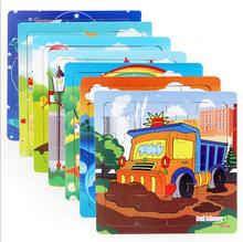 hot Sales 16 slice puzzle wooden small piece kid toys child wooden Traffic jigsaw puzzles Educational Toys for children MSS-0913(China)
