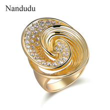 Nandudu New Oval Wave Style Ring Fashion Austrian Crystal Inside Women Girl Cocktail Rings Jewelry Gift R1210(China)