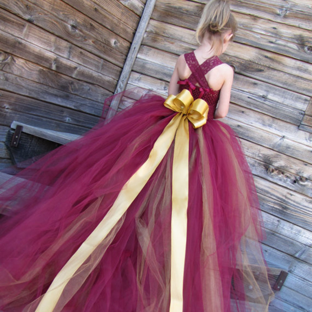 Princess Girls Trailing Tutu Dresses  Long Trail Wine Pageant Birthday Party Girl Tutu Ball Gown Boutique Dresses PT01<br><br>Aliexpress