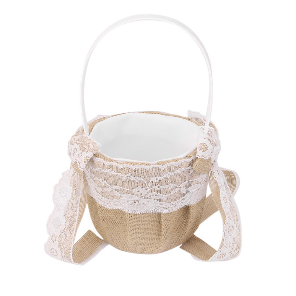 Hessian Burlap Wedding Flower Girl Basket With Lace Bowknots Generic