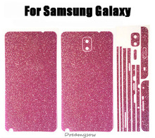 For Samsung Galaxy note3 note4 note5 2PCS= Front + Back Full Body Bling Shining Crystal Film Diamond Sticker Decal Skin Case