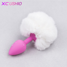 Buy Small Size Rabbit Tail Silicone Anal Plug Plush Backyard Butt Plug Anal Sex Toys Woman Adult Game Erotic Toys Couples