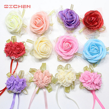 20pcs/lot Wrist Flower Rose Silk Ribbon Bride Corsage Hand Decorative Wristband Bracelet Bridesmaid Curtain Band Clip Bouquet