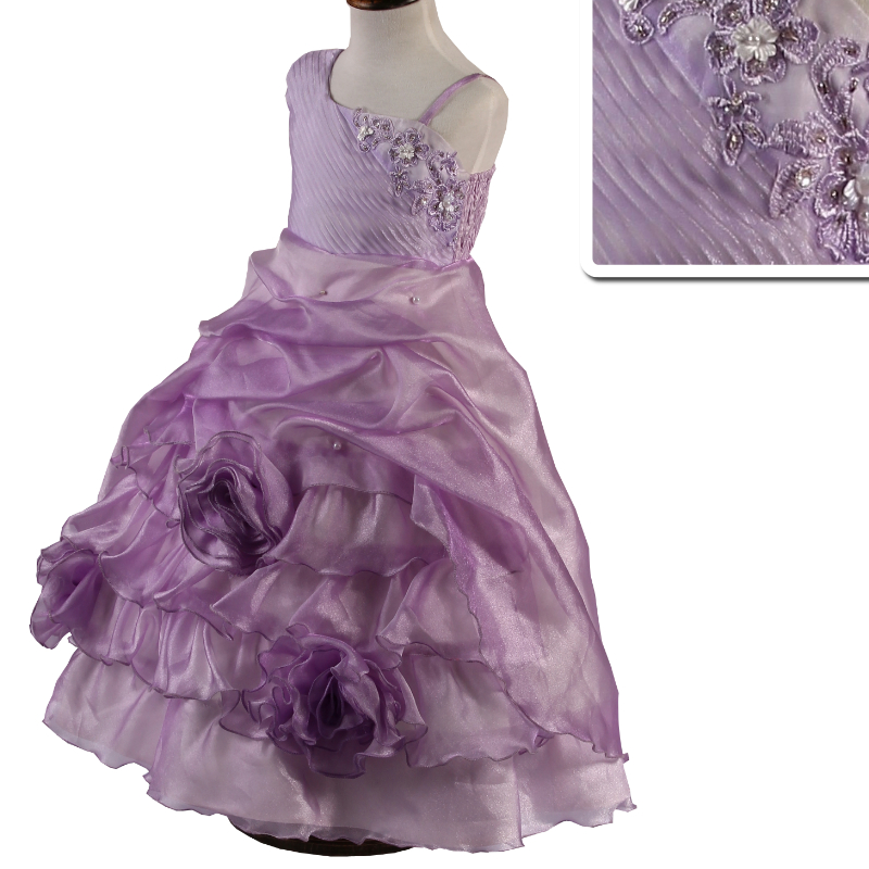 Hot Sales  2-10 Years Elegant One Shoulder Girl Party Dress 2018 Last Style Pageant Ball Gown Peach Flower Girl Dresses Factory<br>