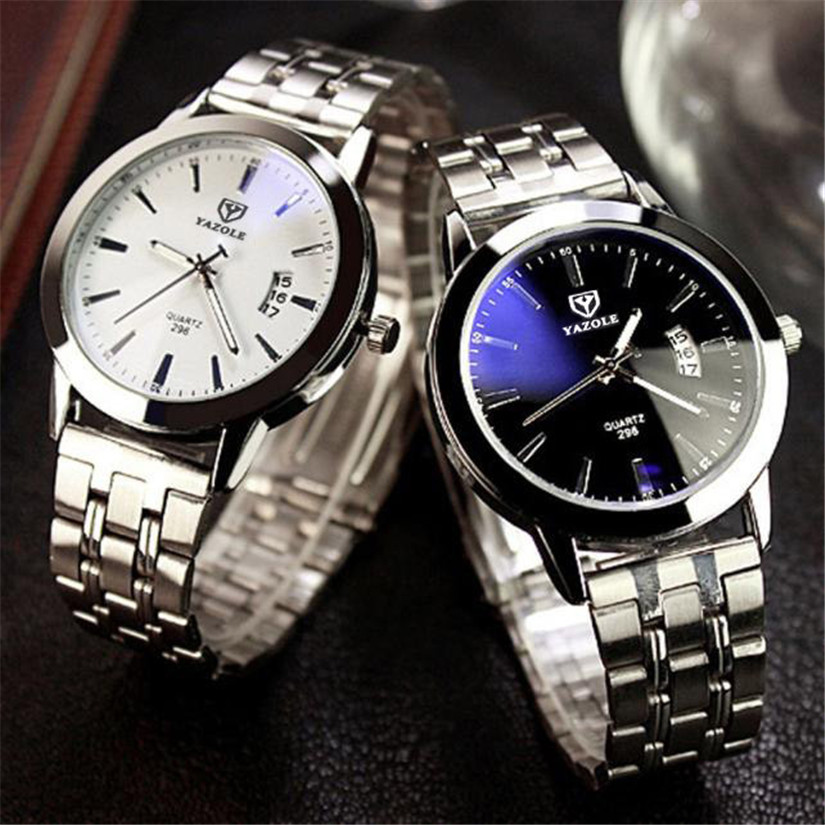 Perfect Gift Senors Mens Waterproof Date Noctilucent Stainless Steel Glass Quartz Analog Watches  Levert Dropship Jan18-17<br><br>Aliexpress
