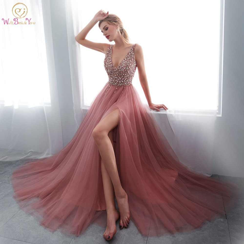 7499eda81ed Beading Prom Dresses 2019 V neck Pink High Split Tulle Sweep Train  Sleeveless Evening Gown A