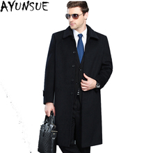 AYUNSUE New 2017 Warm Thick Mens Wool Coat Men Cashemer Jackets X-Long Turn Down Collar Windbreaker Brand Clothing M-4XL LX787
