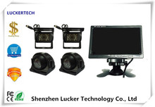 Luckertech Vehicle CCTV System 7Inch Monitor 4 Split Quad LCD with Four IP67 Rear View Reversing Camera DC12-24V car bus truck(China)