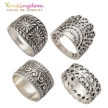Yunkingdom Vintage Ring Set Hollow Design Ancient Silver Color Rings Women Ladies Hip-hop jewelry