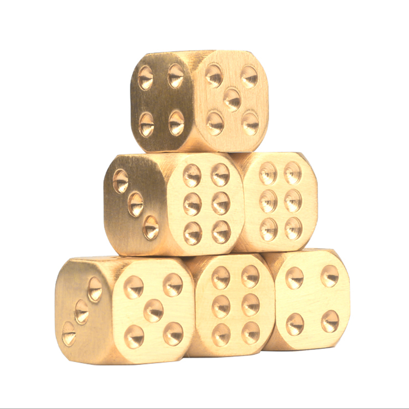 Retro Brass Six Sided Spot Dice Games D6 Solid Metal Cube Creative Gift 13//15mmR