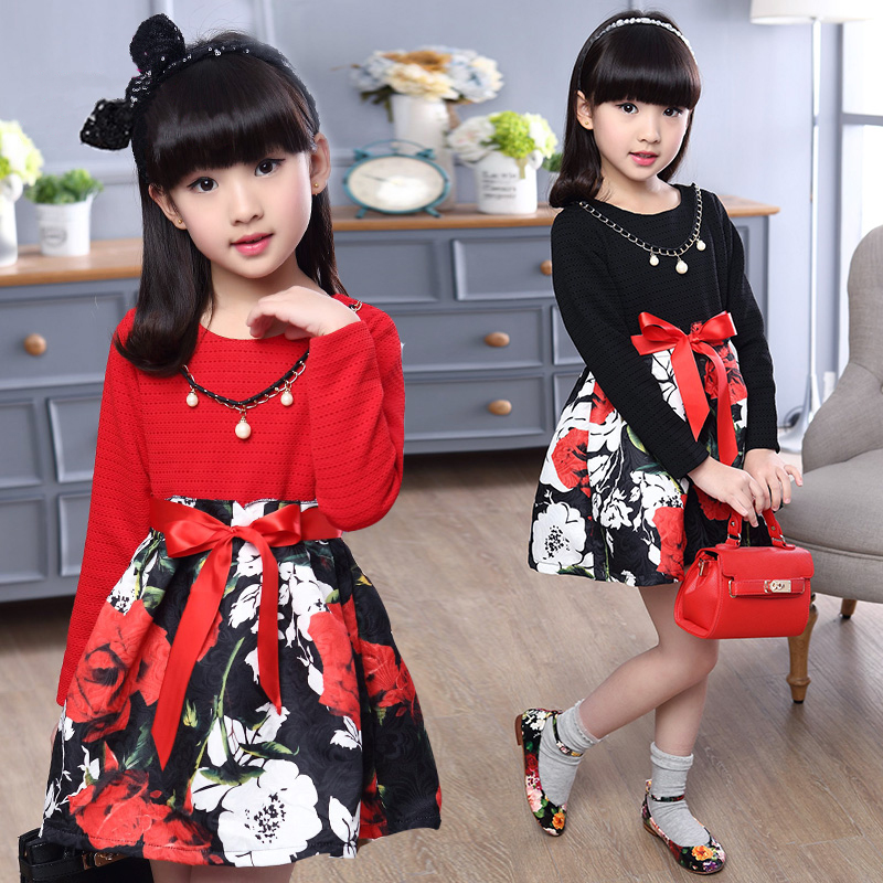 5T-14T Girl Dresses Girl Clothing Fashion Princess Style Dresses Big Flowers Bowknot Long Sleeve Dresses Autumn For Girl V20<br>