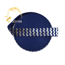 "GOYIBA 5 Yard 5/8"" 1.5cm Silver Chevron Foil Print Navy Fold Over Elastics Satin Band Trim Headband Hair Tie Dress Sewing Notion"
