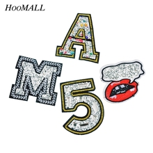 Hoomall 4PCs Rhinestone Backpack Patches Iron On Embroidered Patch For Clothing Applique Number Letter Lip Sew On Badges Sticker(China)