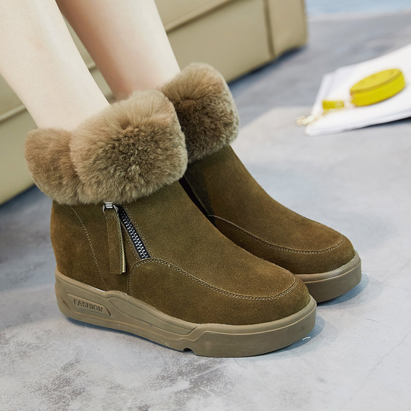 2016 Brand Suede Leather Women Snow Boots Winter Warm Shoes With Fur Hidden Increasing Casual Shoes Australia boots bota de neve<br><br>Aliexpress