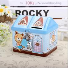 Creative house piggy bank coin cans metal Tin cans to save money 112*88*104mm with lock gift for kids  Money bank