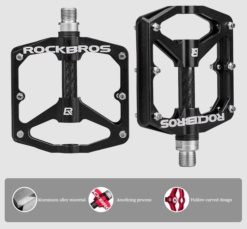 """ROCKBROS Bike Pedals 9//16 /""""MTB BMX Road Bike CNC Bearings Anodized 4 Sealed Alu"""