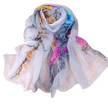 Imported China Classics Vintage Beautiful Women Ladies Chiffon Floral Scarf Soft Wrap Long Shawl ponchos capes echarpe femme