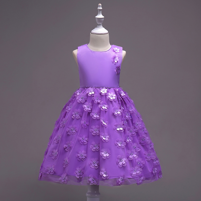 Girls Dress Appliques 3D Flower Girl Party Wear 2 to 10 Years Dresses For Girls Bow Pageant Baby Ruffles Tulle Princess Dresses<br>