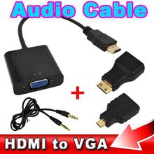 2015 1080p Converter HDMI to VGA with Audio Cable + 2 Micro Mini HDMI Connector Adapter For HD HDTV PC Laptop Notebook Monitor
