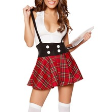 FGirl Halloween Costumes for Women Sexy Adult New Year Costume Teasing Schoolgirl 2pcs Suspending Skirt Dress FG11455