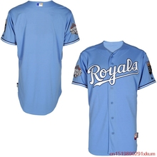 MLB Men's Kansas City Royals Baseball Light Blue Authentic Team Jersey with 2015 World Series Patch(China)