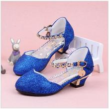 hOT! NEW Children Princess Sandals Kids Girls Wedding Shoes High Heels Dress Shoes Party Shoes For Girls Pink Blue Gold