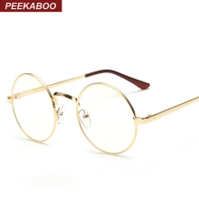 Peekaboo Cheap small round nerd glasses clear lens unisex gold round metal frame glasses frame optical men women black uv oculos(China)