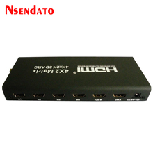 4x2 HDMI Matrix To HDMI Switcher Splitter Support ARC 4Kx2K HDMI Splitter 4x2 Extender Hub Box For PS3 For Xbox 360 HDTV DVD