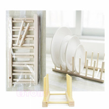 New Wooden Drainer Plate Stand Wood Dish Rack 7 Pots Cups Display Holder Kitchen #K400Y#