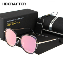 2017 HDCRAFTER Celebrity retro pink ladies Color film Sunglasses Women Polarized Sun glasses UV400 cat eyes Alloy Legs Shades