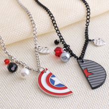 Winter Soldier Captain America Necklace Shield Logo with Crystals and Pearls Pendant The Avengers Best Friend/Lover's Necklaces