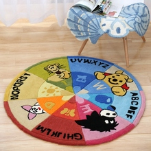 120CM Round Acrylic Carpet For Children Bedroom Thicken Soft Coffee Table Area Rug Cartoon Computer Chair Floor Mat