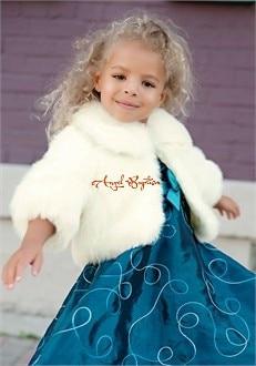 Long sleeves ivory/white flower girl faux fur jacket cape winter warm wrap kid bolero for wedding princess outwear evening coat<br>