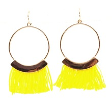 F.J4Z New Tassel Earrings Fashion Brand Designer Yellow Black Fringes golden Circle Drop Earrings brincos de gota feminino