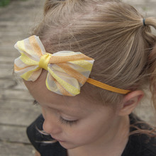 1PCS Cute Bow Rainbow Print 10cm Bowknot Fashion Hair Accessories Hair Products Casual Headwear Elastic Band(China)