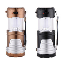 Classic style 6 LED Rechargeable Camping Light Collapsible Solar Camping Lantern Tent Lights for Outdoor lighting Camping Hiking(China)