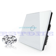 Control Light Crystal Glass Panel Smart Touch Wall Switch 1 Gang 1 Way #H028#