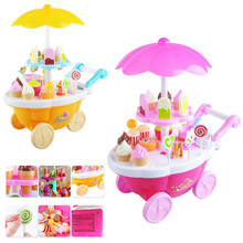 39PCS New simulation small carts girl mini - candy cart ice cream shop supermarket children 's toys playing home baby toys(China)