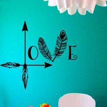 New Beautiful Arrow Feather Love Wall Decal Namaste Vinyl Sticker Art Decor Bedroom Design Mural Home Decor Fashion Wall Decals