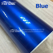 10/20/30/40/50/60cmx152cm/lot Blue Metallic Glossy Vinyl Car Wrapping Sticker With Air Bubble Free Pearl Blue Wrap Film Vhicle(China)