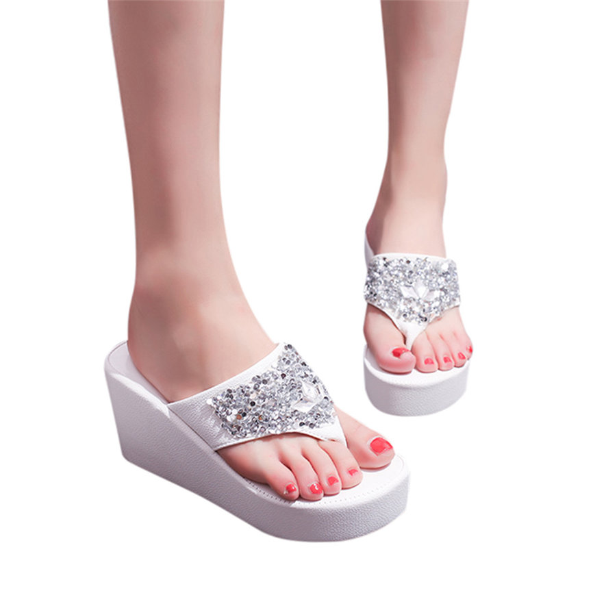 GridNN 2019 Newest Womens Ladies Slippers Thick-Bottom Solid Pearl Waterproof Wedge Sandals Shoes