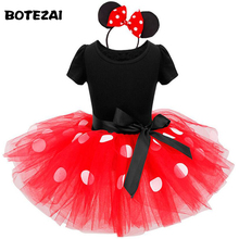 2017 Summer Kids Gift Cartoon Minnie Party Dress Fancy Costume Cosplay Girls Minnie Dress+Headband 9M-6Y Infant Baby Clothes Red(China)